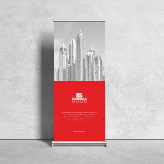 Free Front View Roll Up Stand Mockup