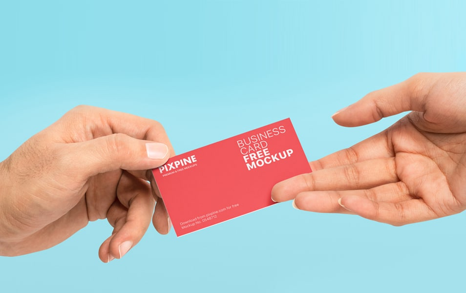 Free Hands Holding Business Card Mockup