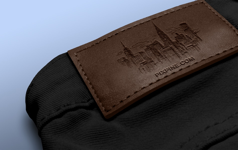 Free Jeans Leather Label Mockup