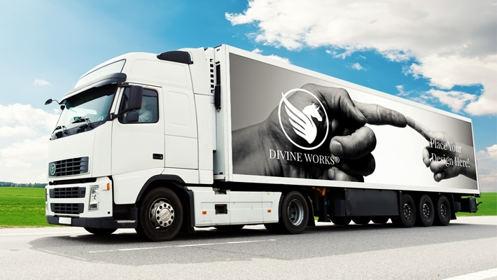 Free Lorry Truck Vehicle Graphics Mockup