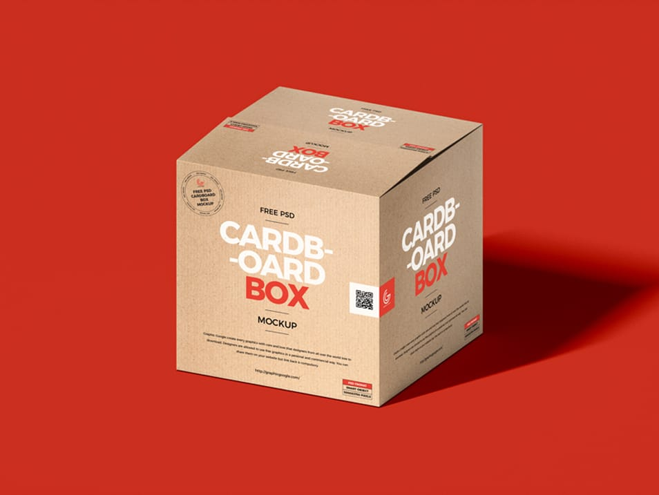 Free PSD Square Cardboard Box Packaging Mockup