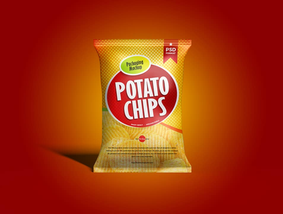 Free Packaging Chips Bag Mockup PSD