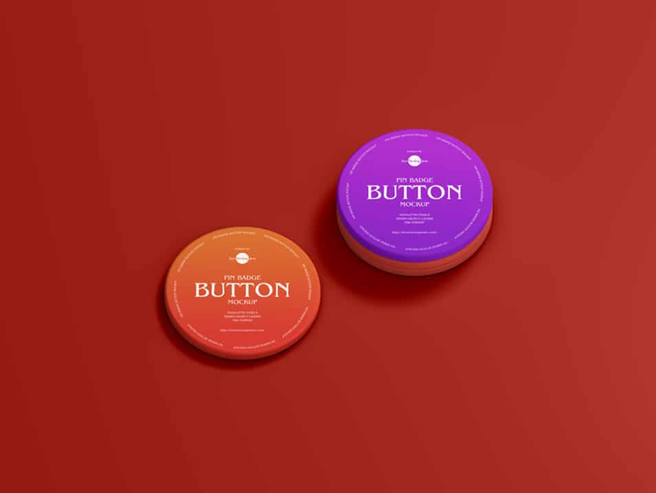 Free Pin Badge Button Mockup