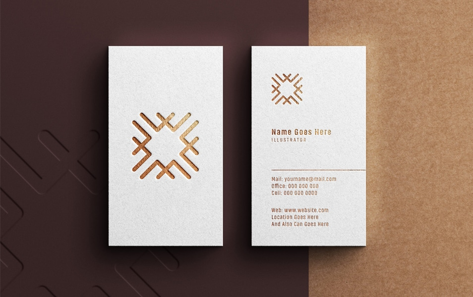 Luxury Logo Mock-Up Portrait White Business Card