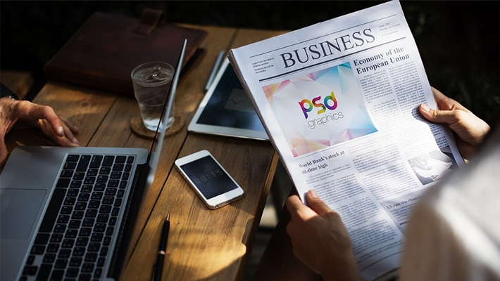 Reading Newspaper Mockup Template