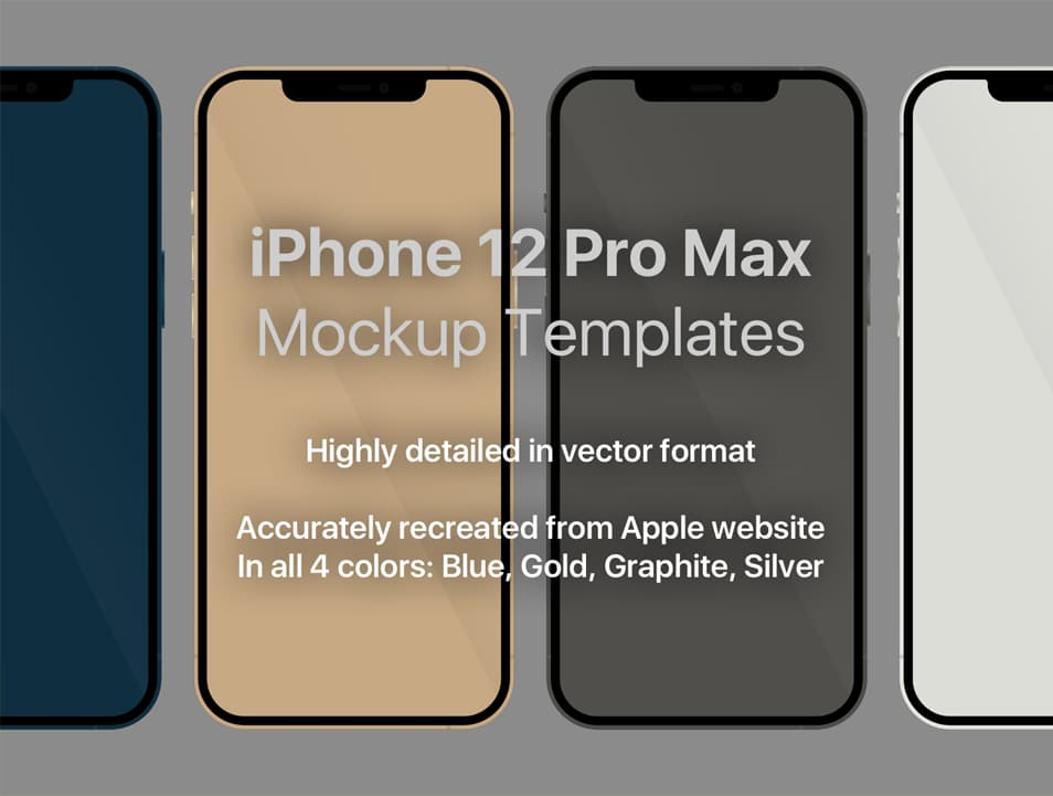Apple iPhone 12 Pro Max Vector Sketch Mockup Template