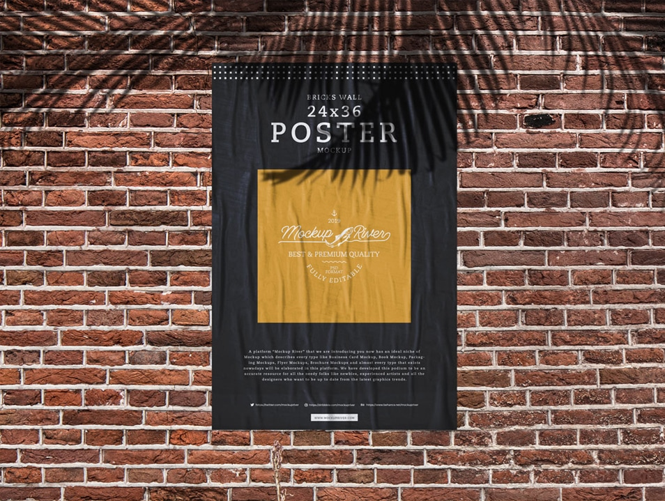 Bricks Wall 24×36 Poster Mockup