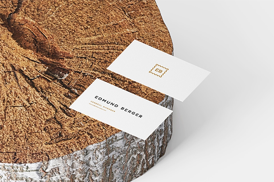 Business Cards On Wood