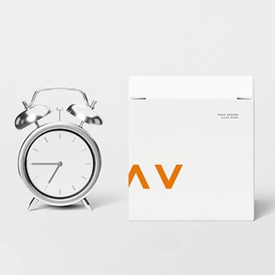 Clock With Box Mockup