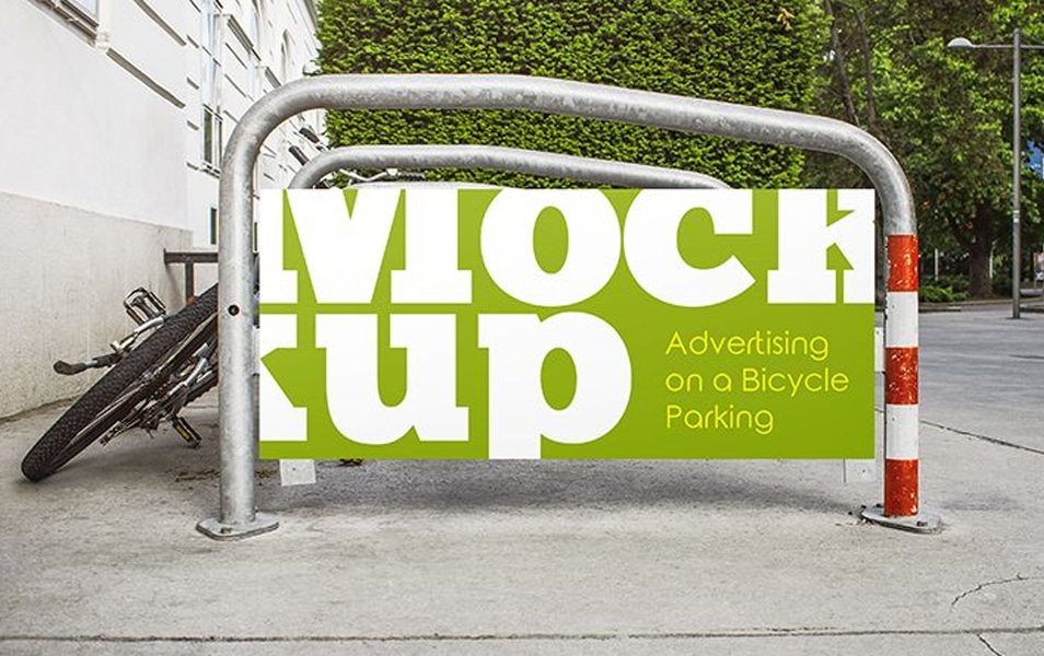 Free Advertising on a Bicycle Parking MockUp