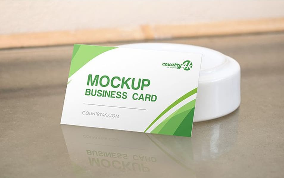 Free Business Card on the Table MockUp