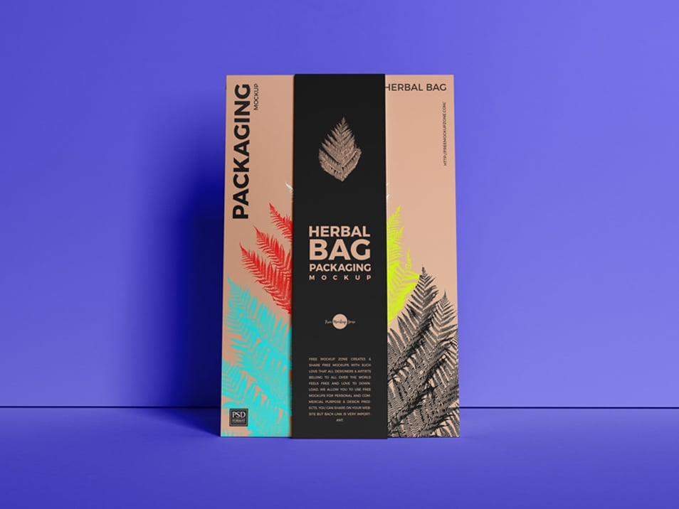 Free Front View Herbal Bag Packaging Mockup