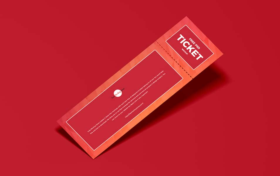 Free PSD Ticket Mockup