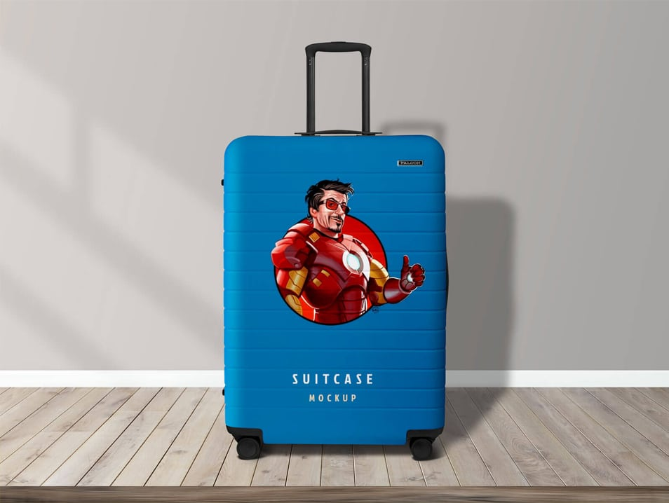Free Travel Luggage Suitcase Mockup PSD