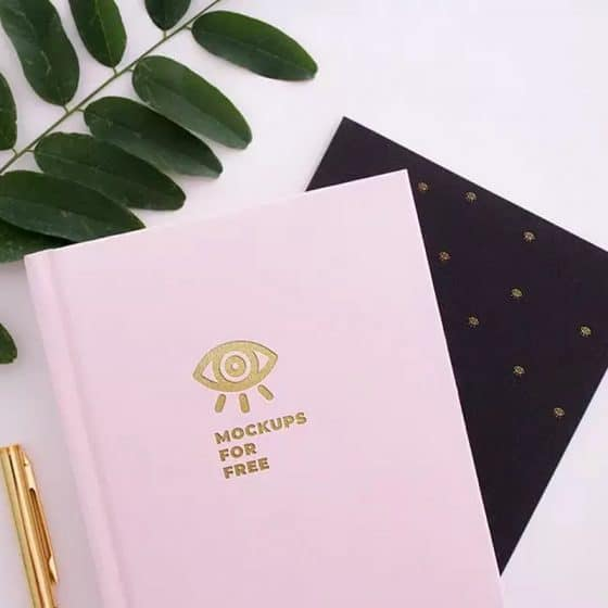 Notebook Gold Texture Logo Mockup