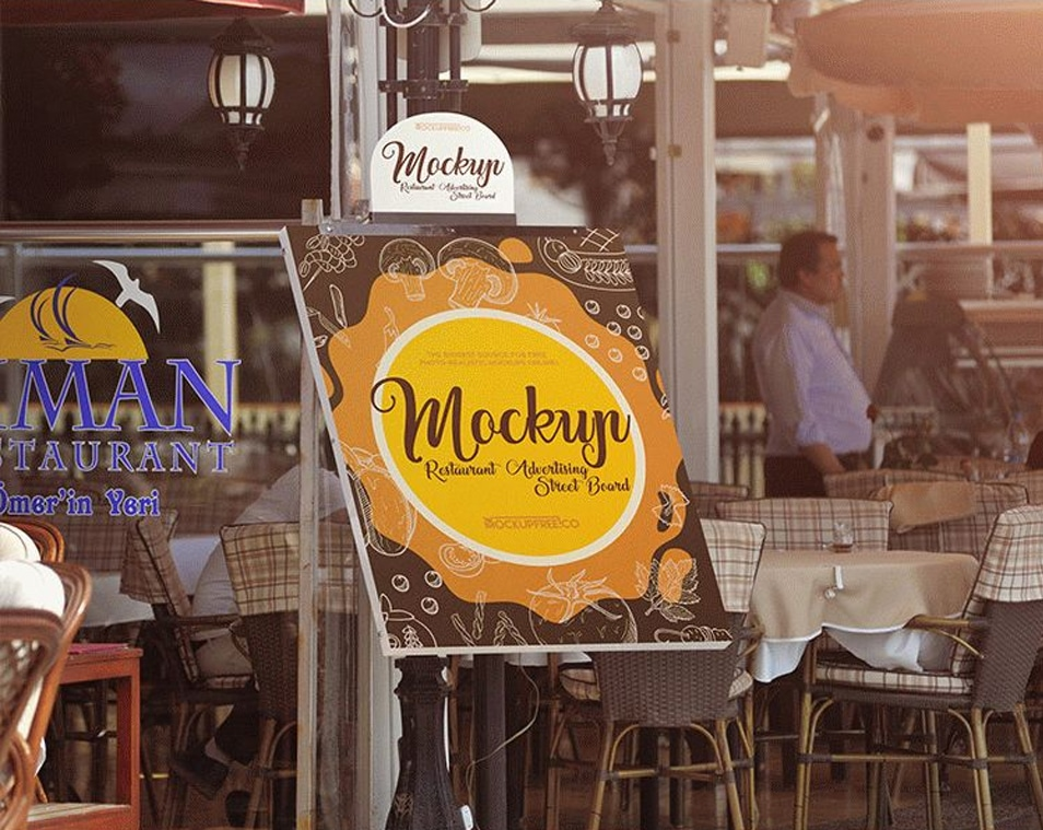 Restaurant Advertising Street Board Free PSD Mockups