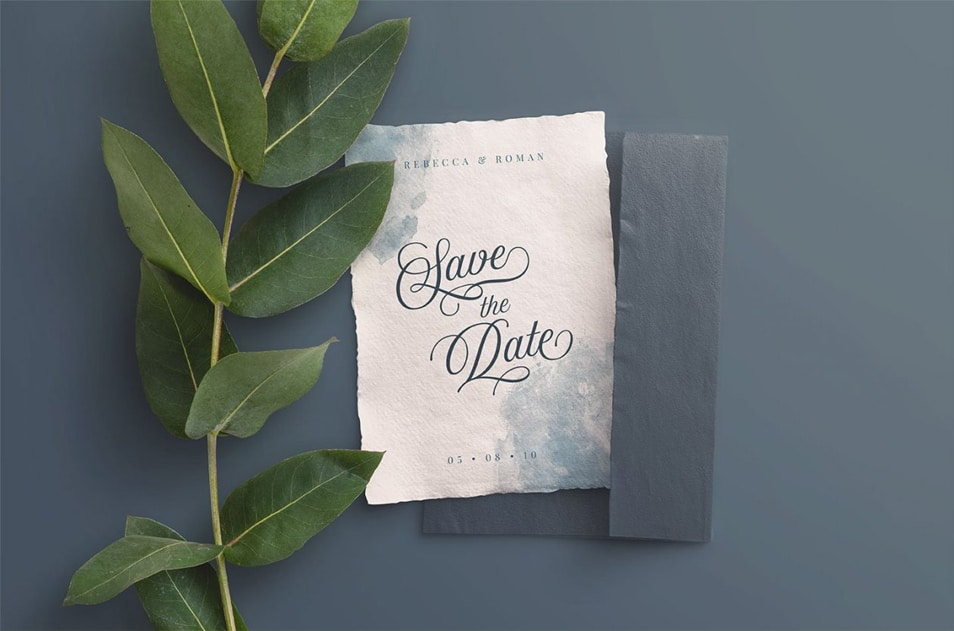 Wedding Invite and Envelope Mockup