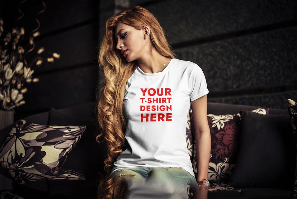 Young Woman T-Shirt Mockup