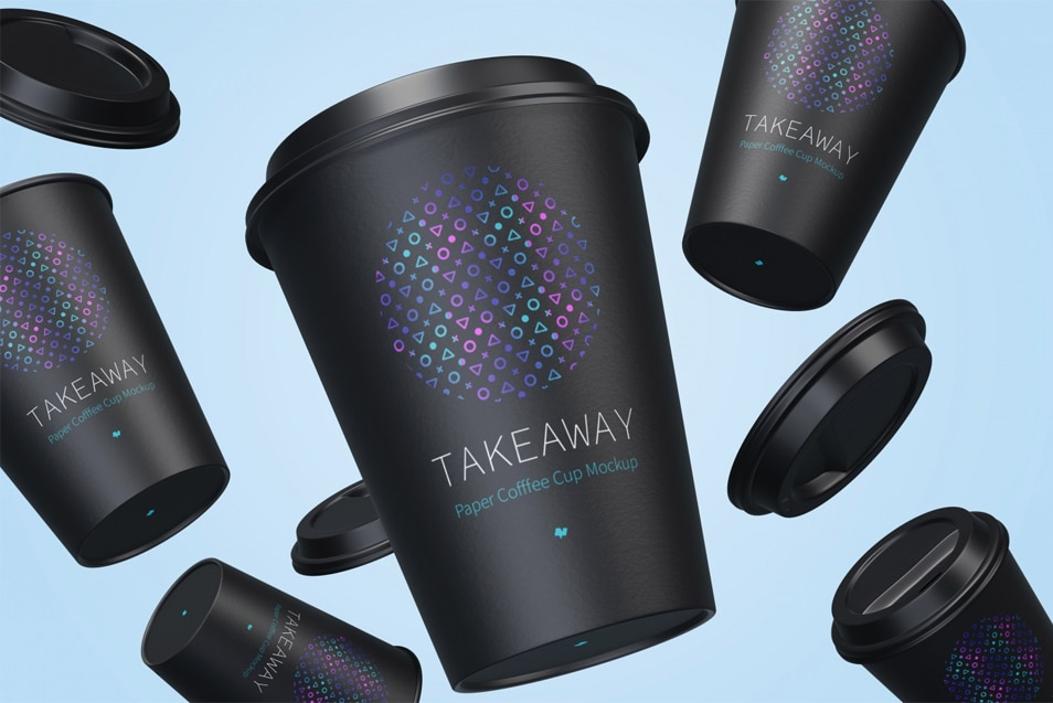 12oz Paper Coffee Cups with Caps Mockup