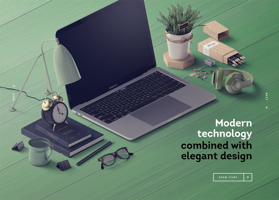 Device On Table With Many Items Mockup Isometric