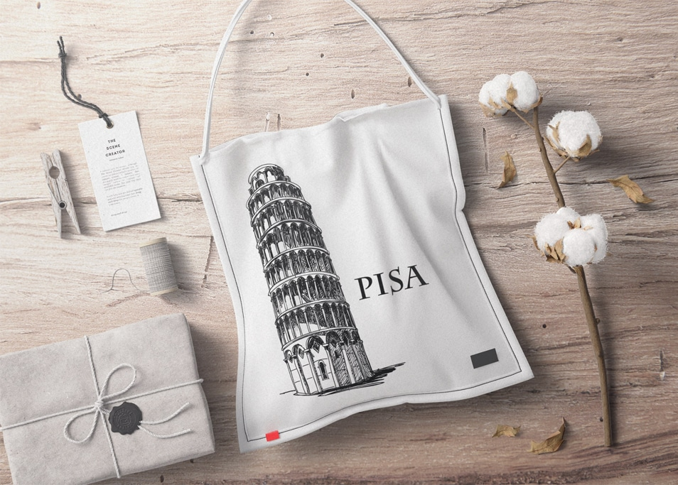 Fabric Bag With Cotton Branding Mockup Top View