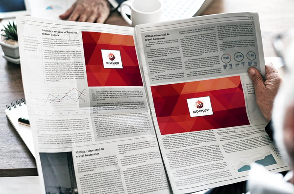 Free Man Reading Multiple Ads Newspaper Mockup