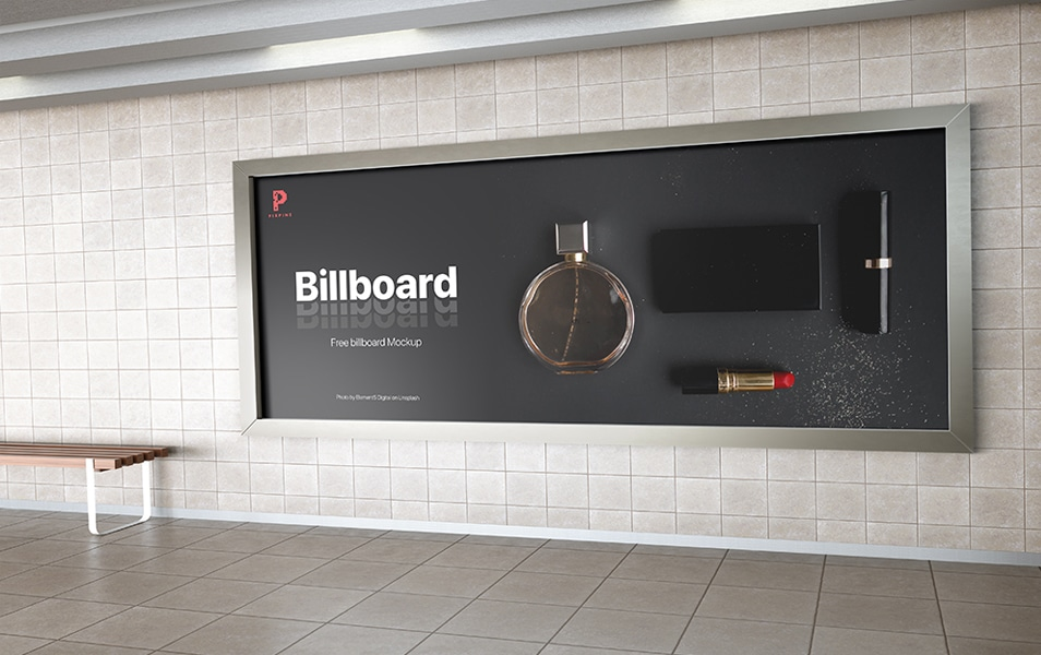 Free Metro Station Billboard Mockup