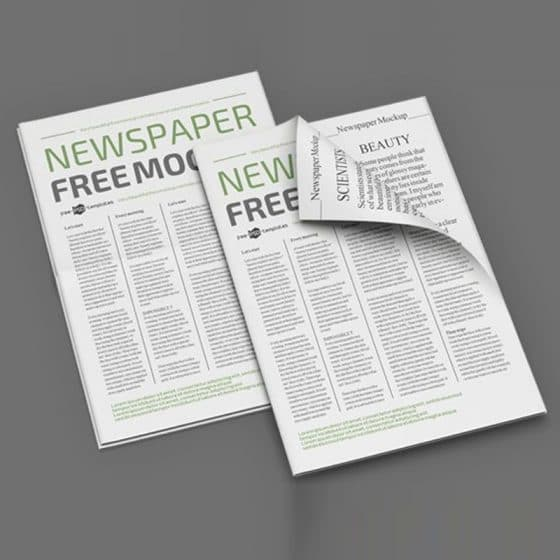 Free Newspaper Mockup Template in PSD