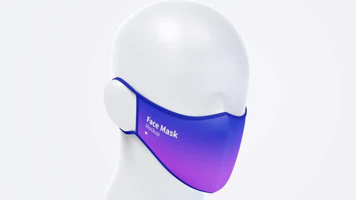 Front Half-Side View Face Mask Mockup
