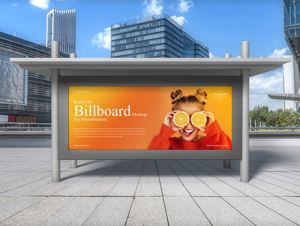 Road City Billboard Mockup