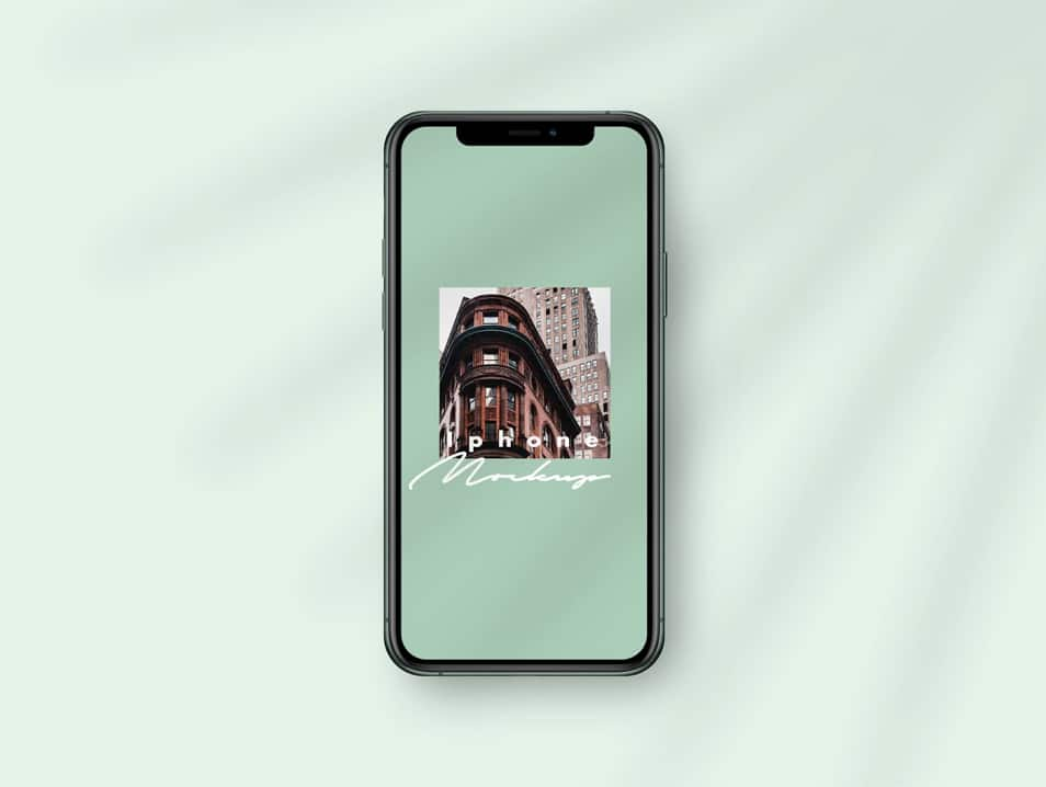 iPhone 11 Pro Mockup Template with Palm Leaf Shadows PSD