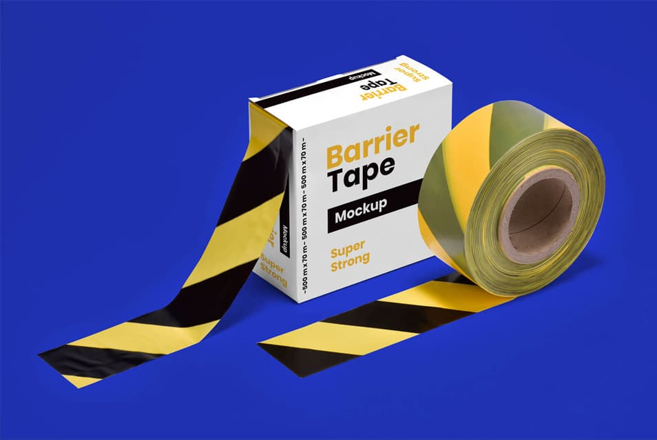 Free Barrier Barricade Tape Box Mockup PSD