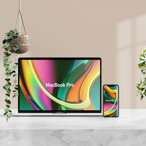 Free Beautiful MacBook Pro & iPhone 11 Mockup PSD
