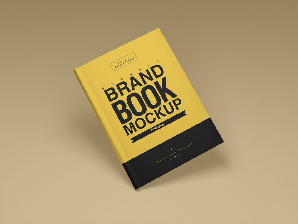 Free Brand Book Cover Mockup PSD