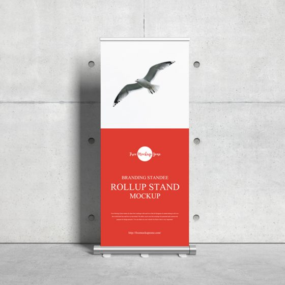 Free Branding Standee Roll Up Stand Mockup