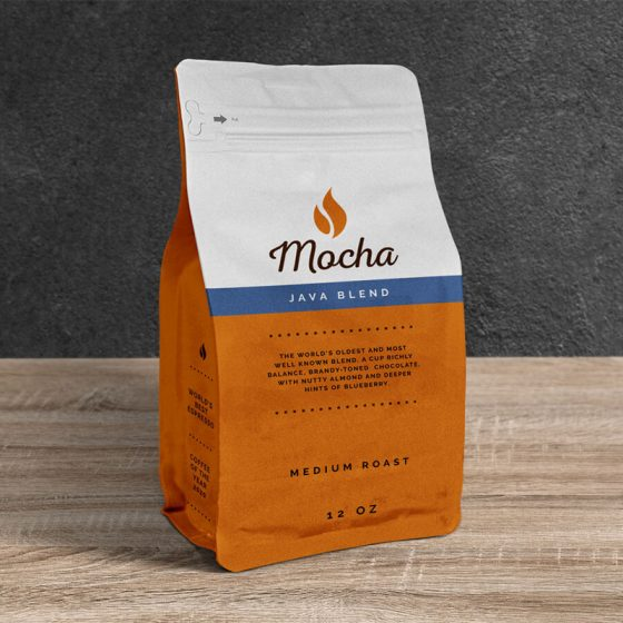 Free Coffee Pouch Packaging Bag Mockup PSD