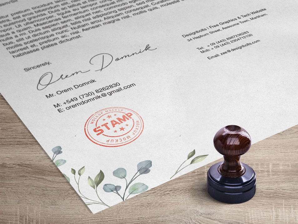 Free Corporate Round Stamp on Letterhead Mockup PSD