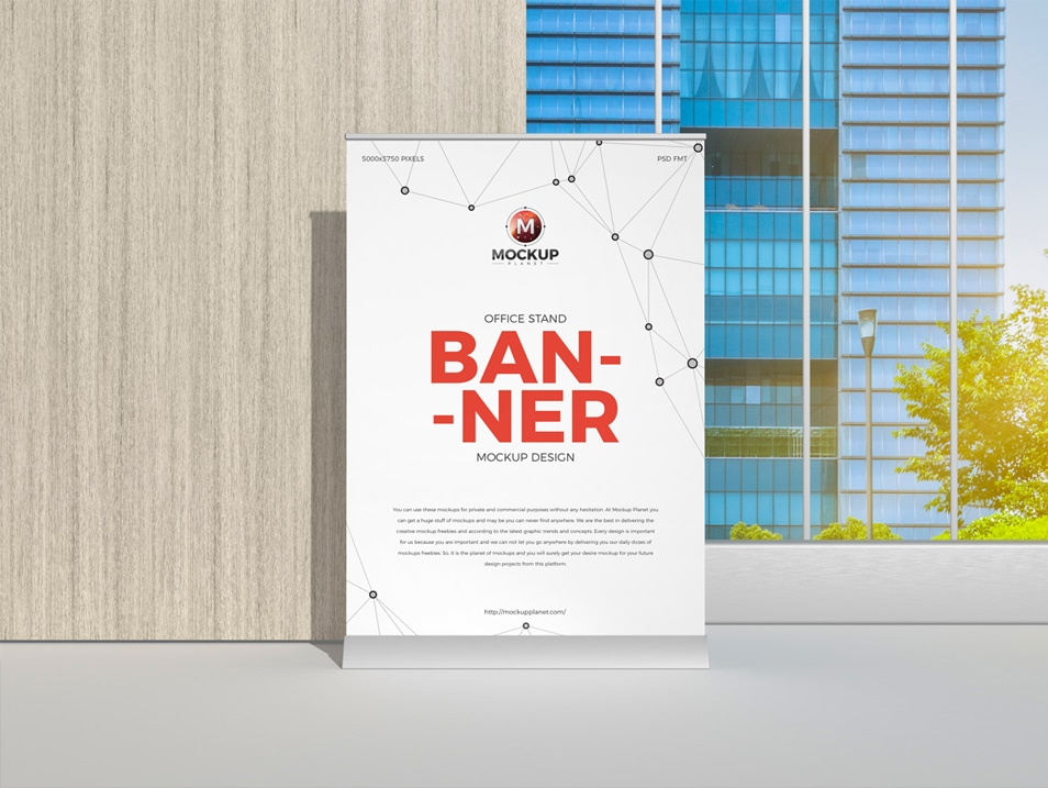 Free Office Stand Banner Mockup Design