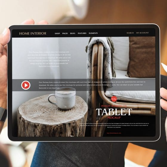 Free Person Working on Tablet Mockup