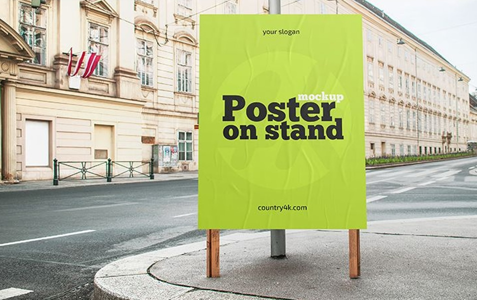 Free Poster On Stand MockUp