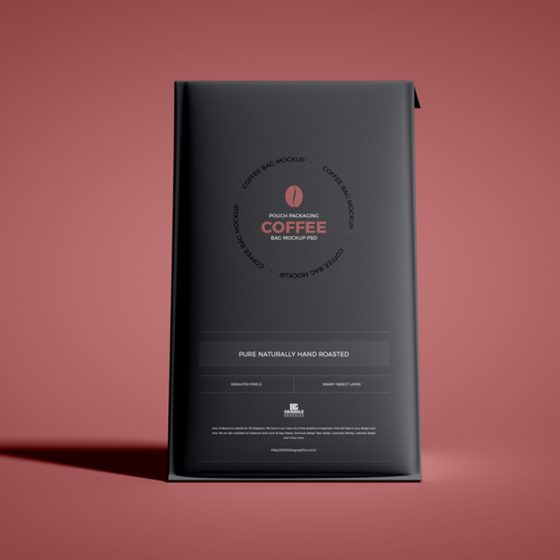 Free Pouch Packaging Coffee Bag Mockup PSD