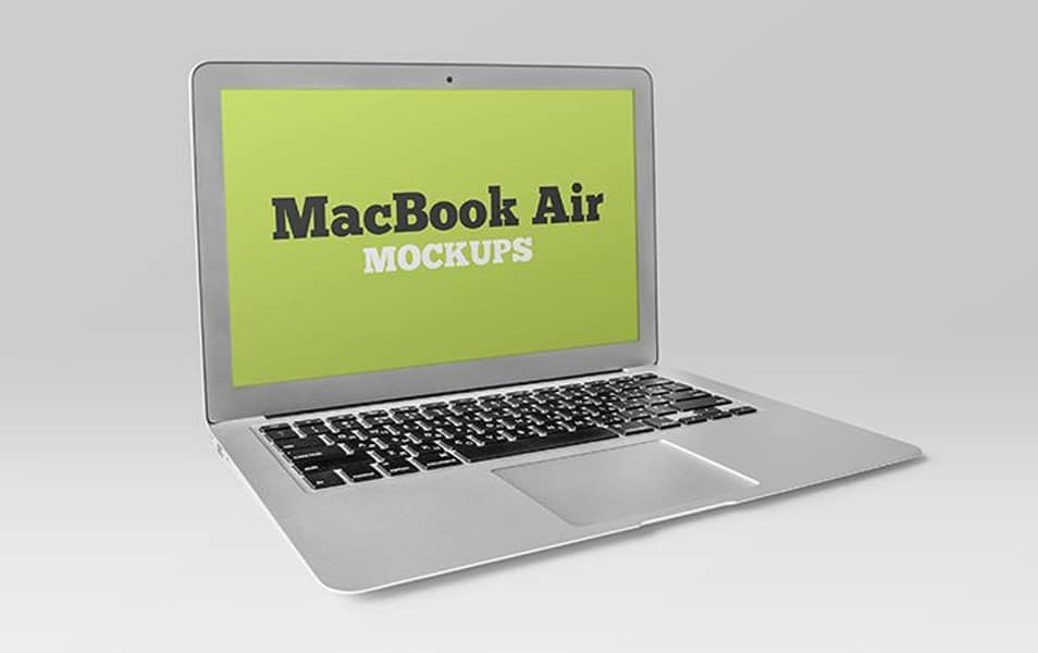 Free Silver MacBook Air Mockup