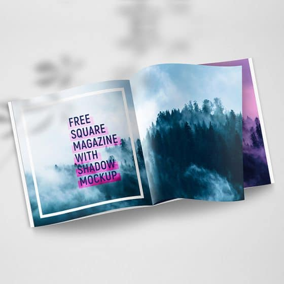 Free Square Magazine With Shadow Mockup Set