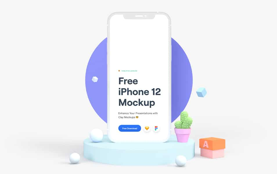 Free iPhone 12 Clay Mockup