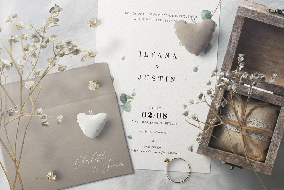 Invitation Card And Envelopes With Plush Hearts Mockup Top View