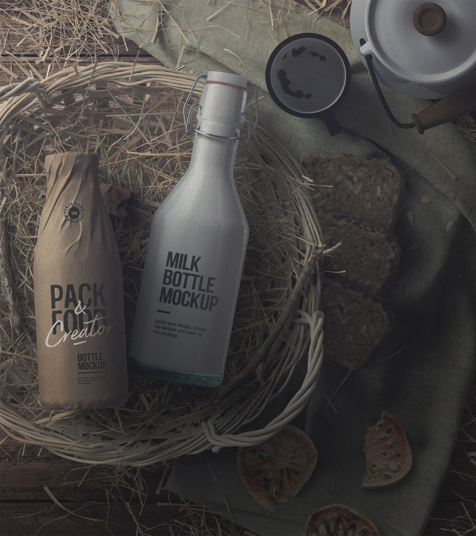 Milk Bottles In A Basket With Hay Mockup