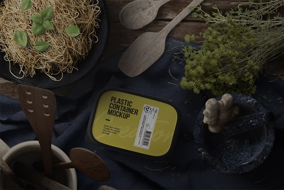 Pasta Preparation And Plastic Container Mockup Top View