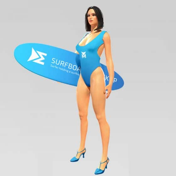 Surfer Holding a Surfboard Free PSD Mockup