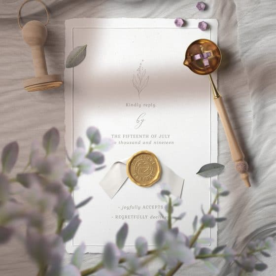 Wax Seal Invitation Card On Cloth Mockup Top View