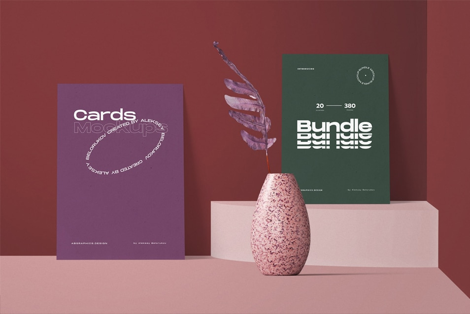 Color Paper Cards With Vase Mockup Front View